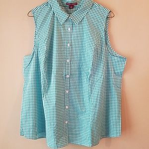 Cute blue & white button-up shirt